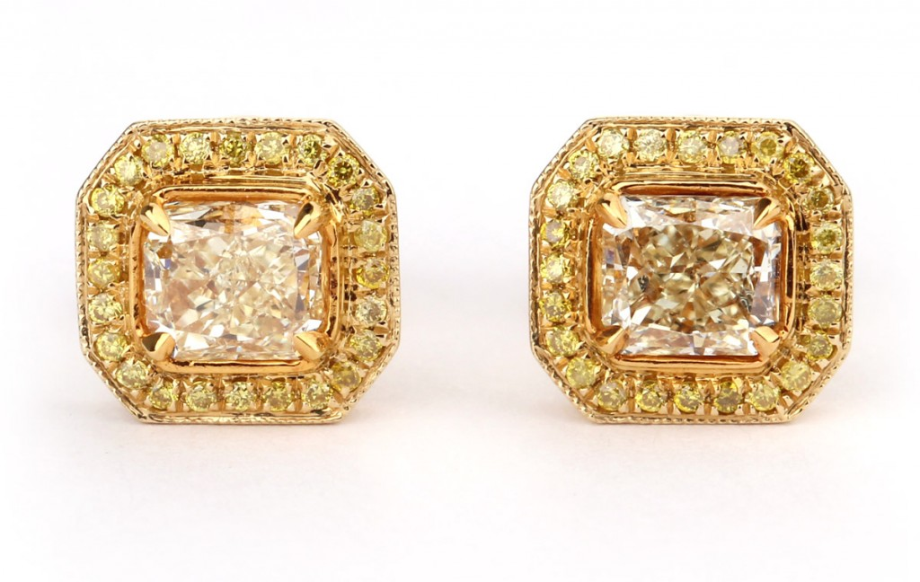 Image of a Fancy Yellow Diamond Earrings, 1.05 Carat, Radiant shape