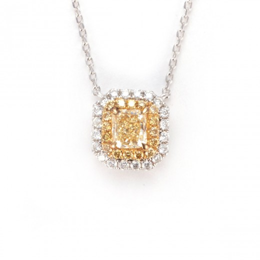 Elegant fancy yellow double halo diamond pendant