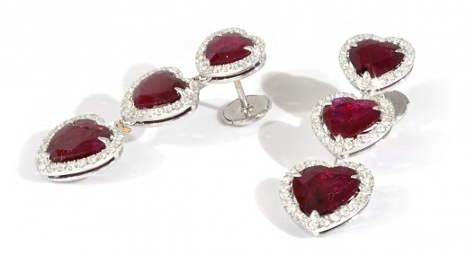 14.06 CARAT, NATURAL RED RUBY EARRINGS