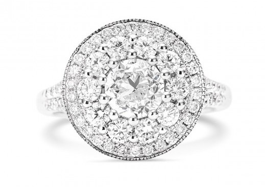 1.00 ct, Cluster Halo Split Diamond Ring