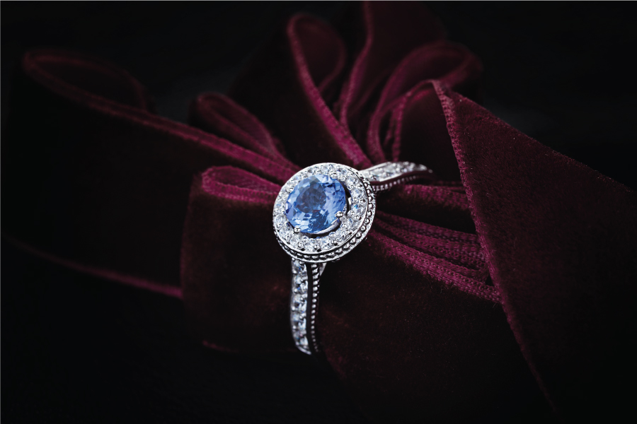 Wedding blue diamond ring