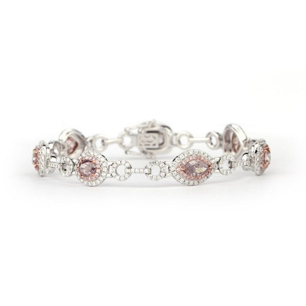 Fancy Brownish Pink Diamond Bracelet, 6.27 Ct. TW, Radiant shape, GIA Certified, JCBF05212588