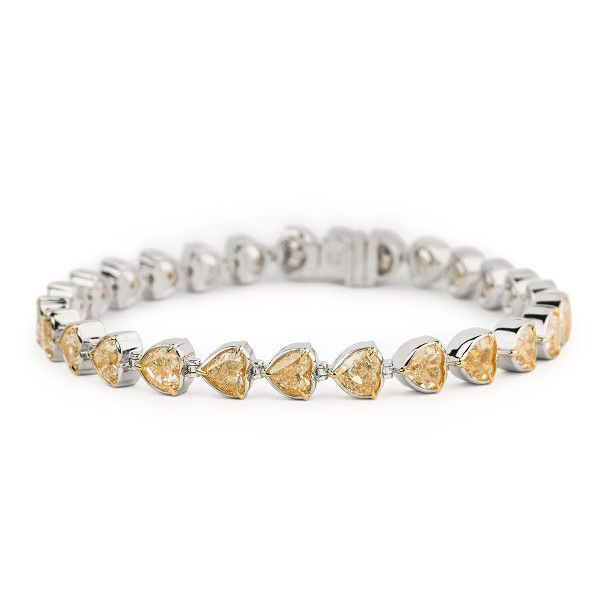 Fancy Intense Yellow Diamond Bracelet, 13.73 Carat, Heart shape, EG_Lab Certified, J5826064940
