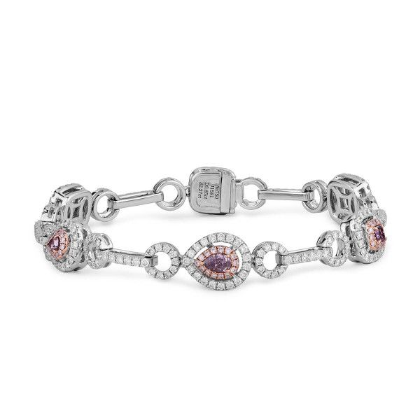 Fancy Deep Pink Purple Diamond Bracelet, 0.85 Ct. (3.12 Ct. TW), Mix shape, GIA Certified, JCBF05390266