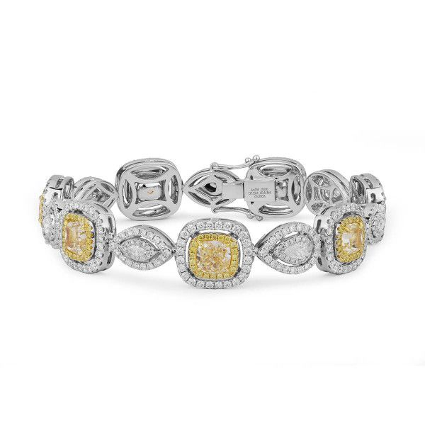 Glamorous Light Yellow  Diamond Bracelet, 12.82 Ct. TW, Cushion shape, GIA Certified, JCBF05391372