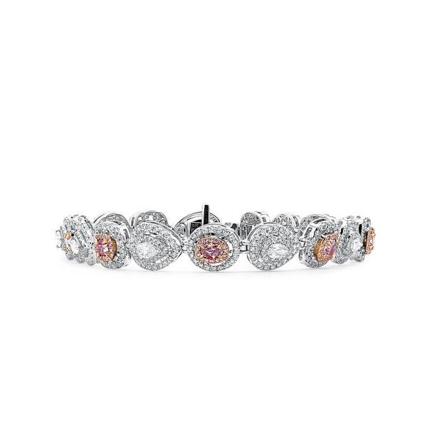 Light Pink Diamond Bracelet, 1.48 Ct. (4.89 Ct. TW), Mix shape, GIA Certified, JCBF05450147