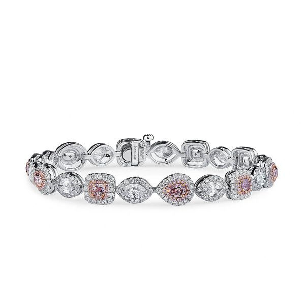 Fancy Pink Purple Diamond Bracelet, 2.00 Ct. (8.21 Ct. TW), Mix shape, GIA Certified, JCBF05461881