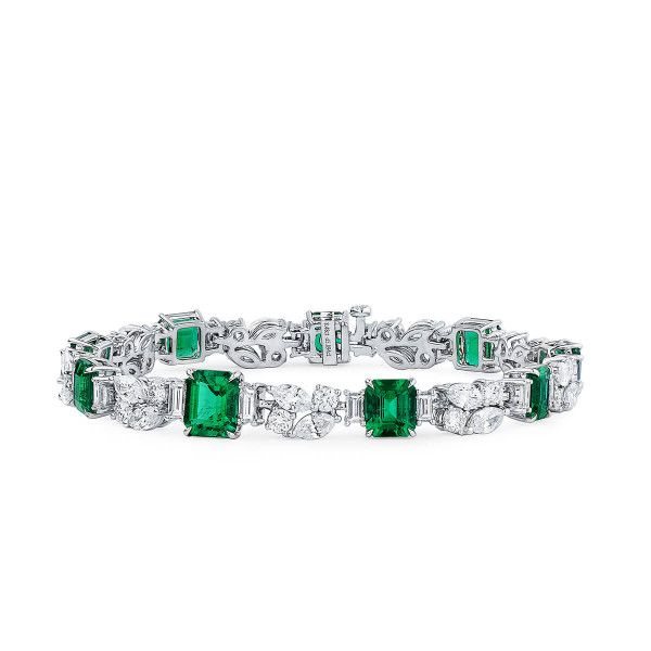 Natural Vivid Green Emerald Bracelet, 8.48 Ct. (14.38 Ct. TW), GIA Certified, JCBG05431914, Unheated