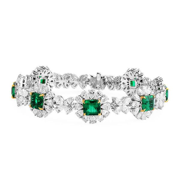 Natural Vivid Green Emerald Bracelet, 7.55 Ct. (18.62 Ct. TW), GIA Certified, JCBG05433075, Unheated