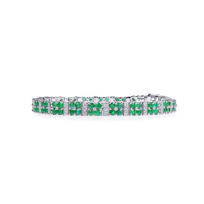 Natural Green Emerald Bracelet, 4.15 Ct. (4.92 Ct. TW)