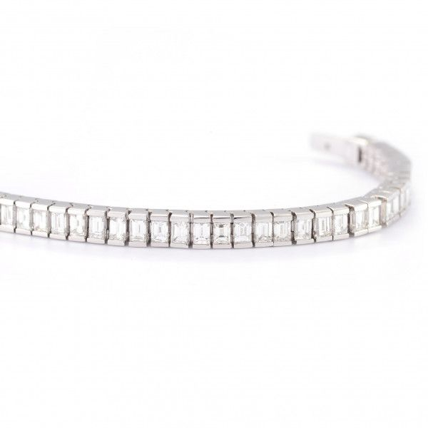 White Diamond Bracelet, 7.61 Ct. TW, Baguette shape