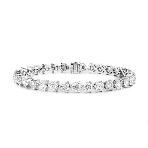 White Diamond Bracelet, 10.71 Carat, Round shape