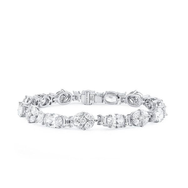 White Diamond Bracelet, 8.01 Ct. (14.30 Ct. TW), Oval shape, GIA Certified, JCBW05430157