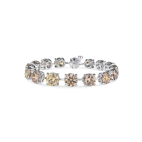 Light Brown Diamond Bracelet, 21.38 Carat, Round shape