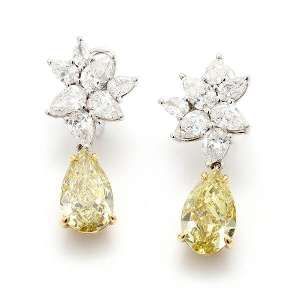 Fancy Brownish Greenish Yellow Diamond Earrings, 4.92 Ct. (7.55 Ct. TW), Pear shape, GIA Certified, JCEF01059479