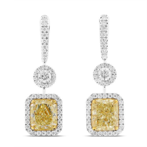 Magnificient Mia Light Yellow Diamond Earrings, 6.04 Ct. TW, Radiant shape, GIA Certified, 1162662219