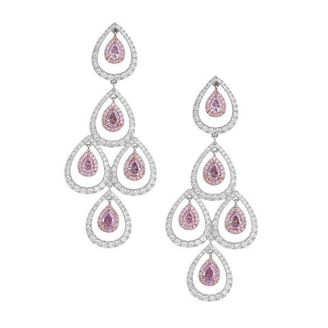 Fancy Purple Pink Diamond Earrings, 1.74 Ct. (3.92 Ct. TW), Pear shape, GIA Certified, JCEF05362355