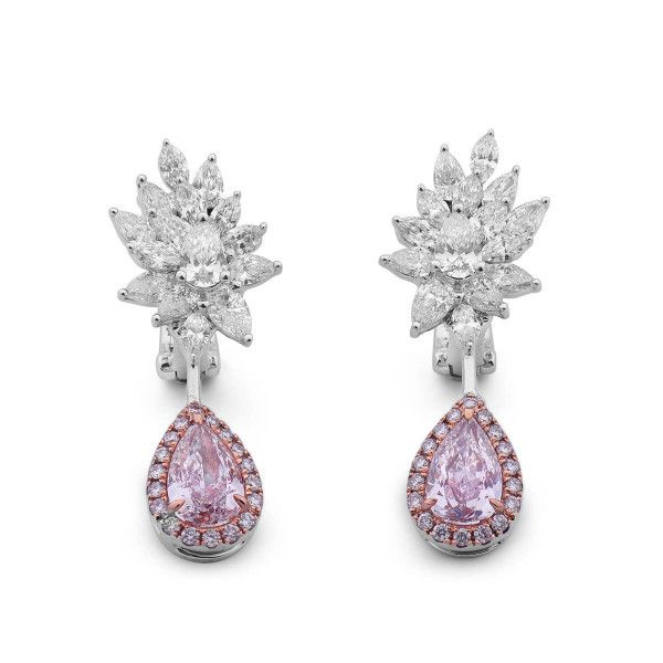 Faint Pink Diamond Earrings, 1.42 Ct. (3.32 Ct. TW), Pear shape, GIA Certified, JCEF05385722