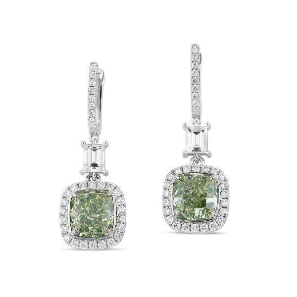 Fancy Green Yellow Diamond Earrings, 4.67 Ct. (5.81 Ct. TW), Cushion shape, GIA Certified, JCEF05387321