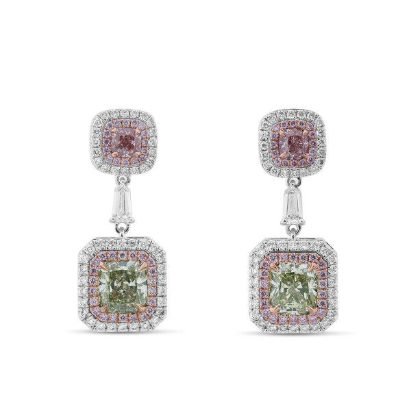 Pink & Green Diamond Earrings, 3.49 Ct. TW, Radiant shape, GIA Certified, JCEF05389313