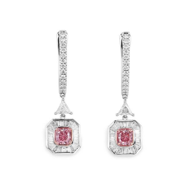 Light Pink Diamond Earrings, 0.87 Ct. (1.89 Ct. TW), Radiant shape, GIA Certified, JCEF05406854