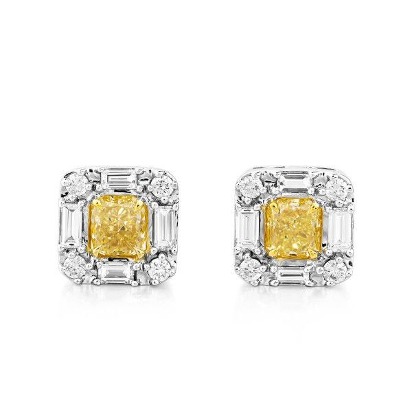 Fancy Yellow Diamond Earrings, 0.96 Ct. (1.51 Ct. TW), Radiant shape