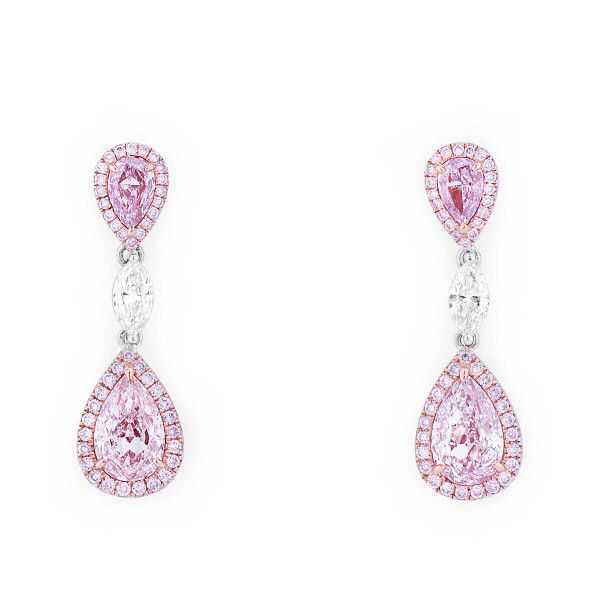 Fancy Light Purplish Pink Diamond Earrings, 2.60 Ct. (3.31 Ct. TW), Pear shape, GIA Certified, JCEF05430208