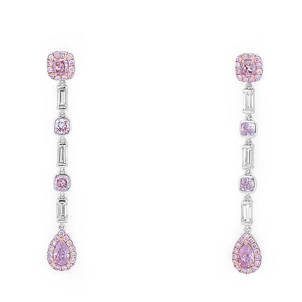 Fancy Light Purplish Pink Diamond Earrings, 0.90 Ct. (2.20 Ct. TW), Pear shape, GIA Certified, JCEF05431107
