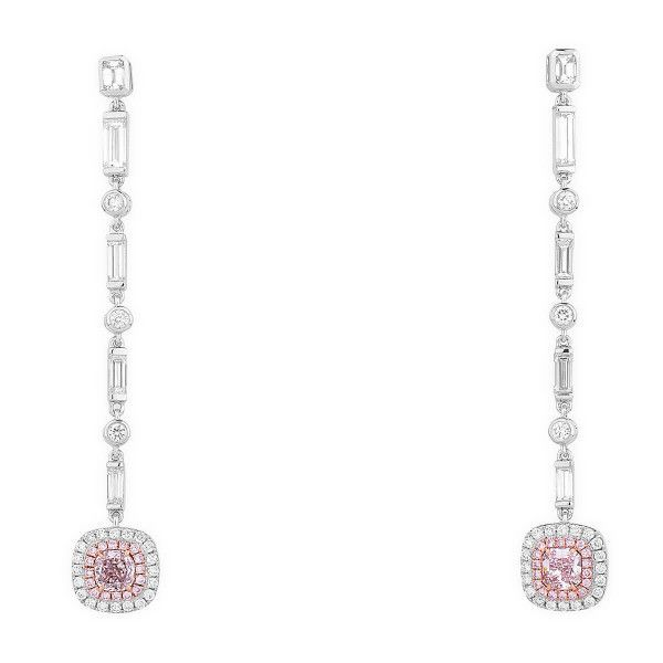 Faint Pink Diamond Earrings, 0.70 Ct. (2.41 Ct. TW), Cushion shape, GIA Certified, JCEF05432535