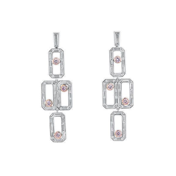 Fancy Pink Diamond Earrings, 0.54 Ct. (4.63 Ct. TW), Round shape