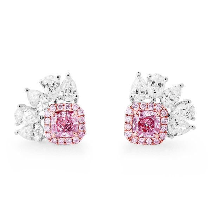 Fancy Purple Pink Diamond Earrings, 0.63 Ct. (1.57 Ct. TW), Radiant shape, GIA Certified, JCEF05436589
