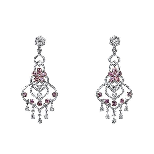Fancy Light Pink Diamond Earrings, 3.20 Ct. (8.76 Ct. TW), Mix shape