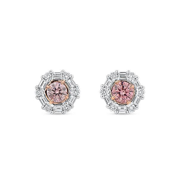 Fancy Orangy Pink Diamond Earrings, 0.33 Ct. (0.61 Ct. TW), Round shape, ARGYLE Certified, JCEF05481230