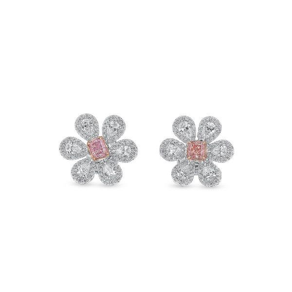 Fancy Orangy Pink Diamond Earrings, 0.34 Ct. (1.35 Ct. TW), Cushion shape, GIA Certified, JCEF05485252