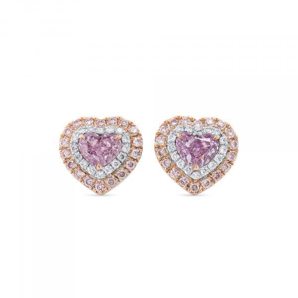 Very Light Pink Diamond Earrings, 1.03 Ct. (1.43 Ct. TW), Heart shape, GIA Certified, JCEF05515848
