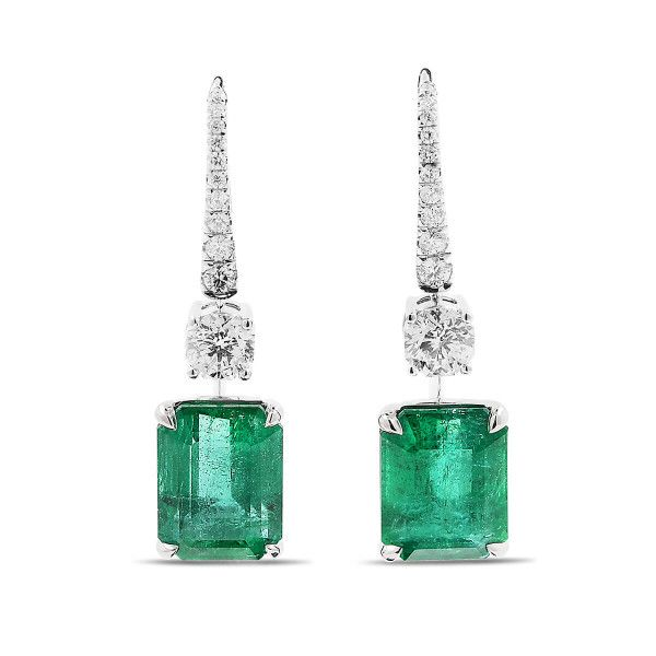 Natural Green Emerald Earrings, 12.91 Ct. (14.71 Ct. TW), GRS Certified, GRS2016-127022, Unheated