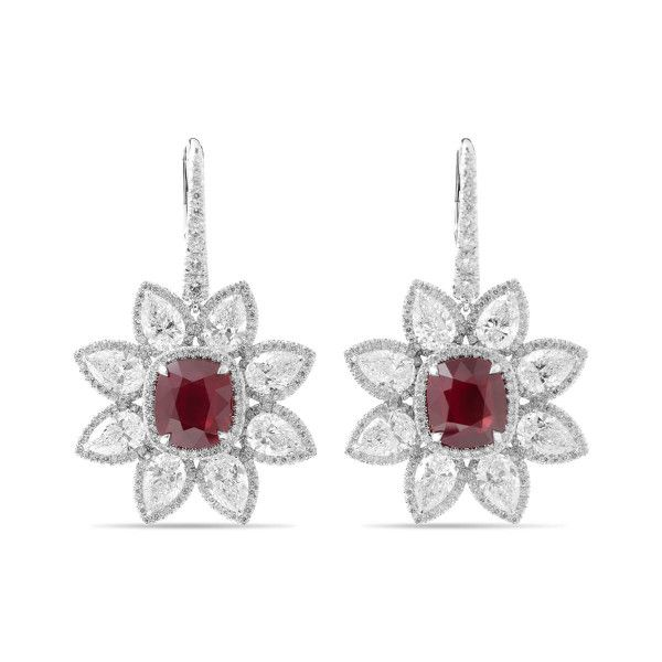 Natural Vivid Red Mozambique Ruby Earrings, 14.96 Ct. TW, GRS Certified, JCEG01065534, Unheated