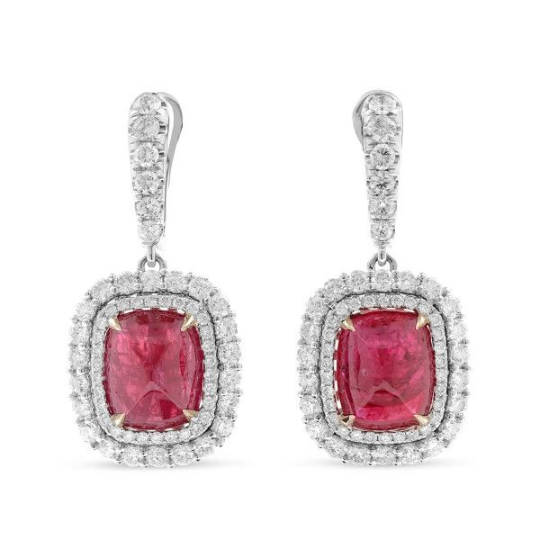 Natural Red Tanzania Ruby Earrings, 12.11 Ct. (14.84 Ct. TW), GRS Certified, GRS2010-112293, Unheated