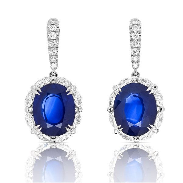 Natural Blue Sri-Lanka Sapphire Earrings, 24.70 Ct. (28.31 Ct. TW), GRS Certified, JCEG05322509, Unheated