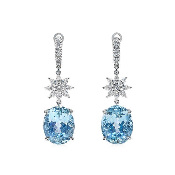 Natural Light Blue Aquamarine Earrings, 32.12 Ct. (34.72 Ct. TW), IGL Certified, J88642608IL, Unheated