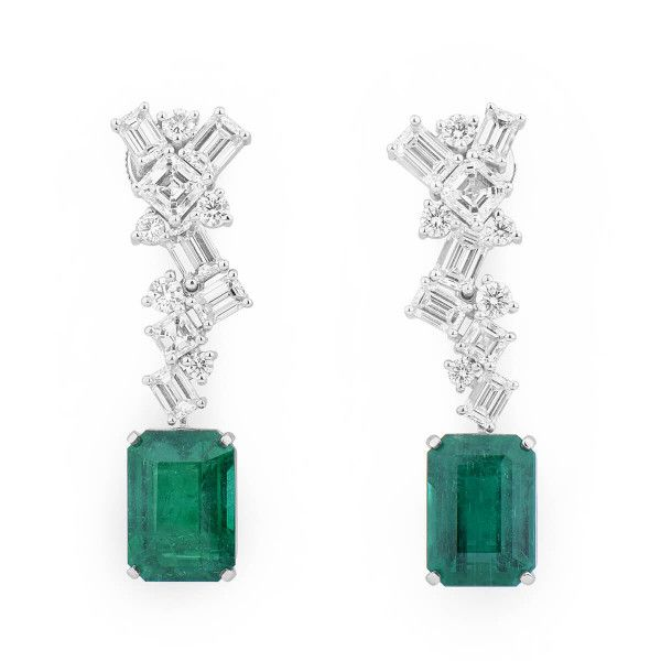 Natural Green Emerald Earrings, 12.69 Ct. (17.76 Ct. TW), GRS Certified, GRS2018-078513, Unheated