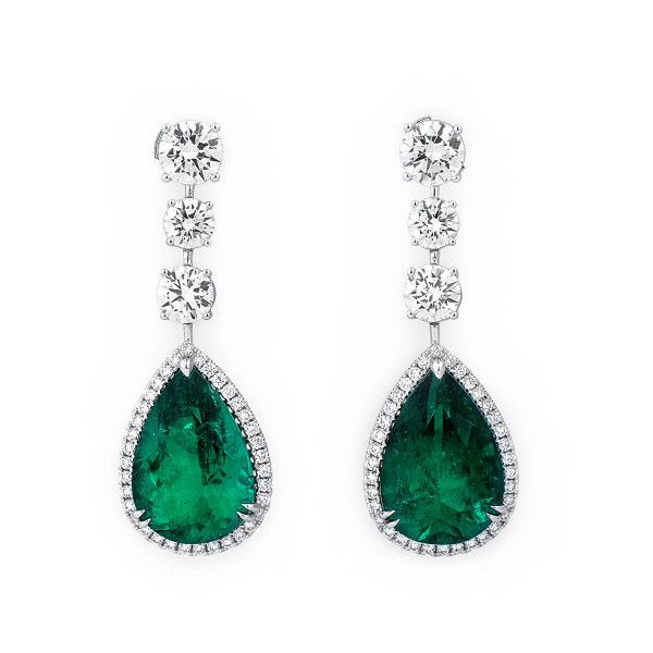 Natural Vivid Green Emerald Earrings, 20.75 Ct. (25.93 Ct. TW), GRS Certified, JCEG05430873, Unheated