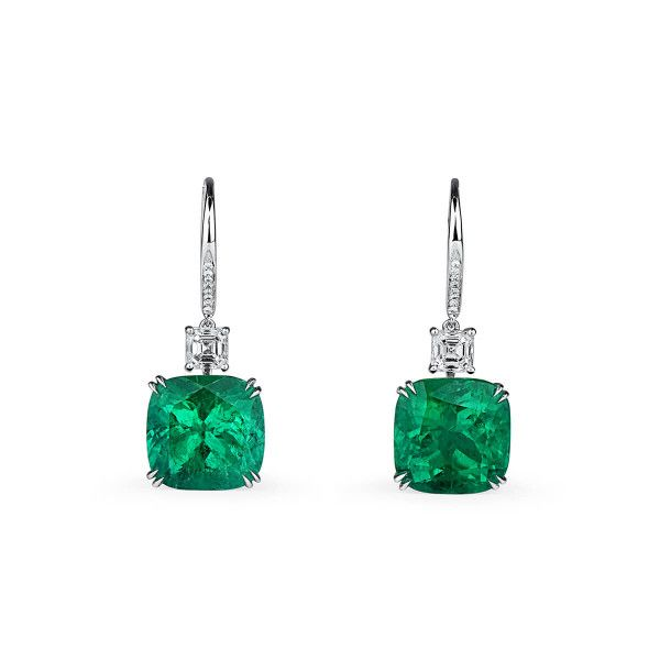 Natural Vivid Green Emerald Earrings, 15.60 Ct. (16.66 Ct. TW), Unheated