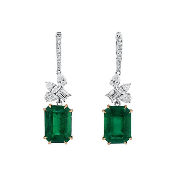 Natural Vivid Green Emerald Earrings, 11.27 Ct. (12.82 Ct. TW), GIA Certified, JCEG05464150, Unheated