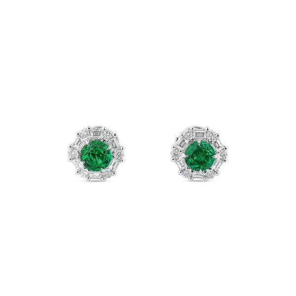 Natural Green Emerald Earrings, 1.14 Ct. (1.69 Ct. TW), GRS Certified, GRS2020-028224