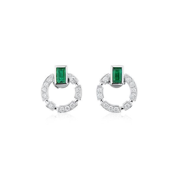 Natural Green Emerald Earrings, 0.99 Ct. (1.49 Ct. TW)