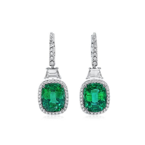 Natural Green Zambia Emerald Earrings, 10.82 Ct. (12.50 Ct. TW), GRS Certified, GRS2020-018105