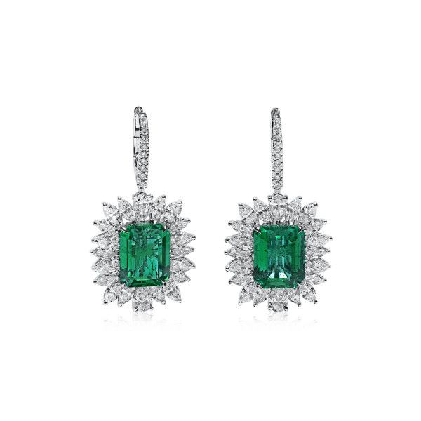 Natural Green Zambia Emerald Earrings, 9.01 Ct. (13.26 Ct. TW), GRS Certified, JCEG05492834