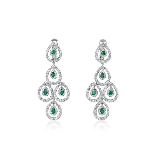 Natural Green Emerald Earrings, 0.95 Ct. (2.97 Ct. TW)