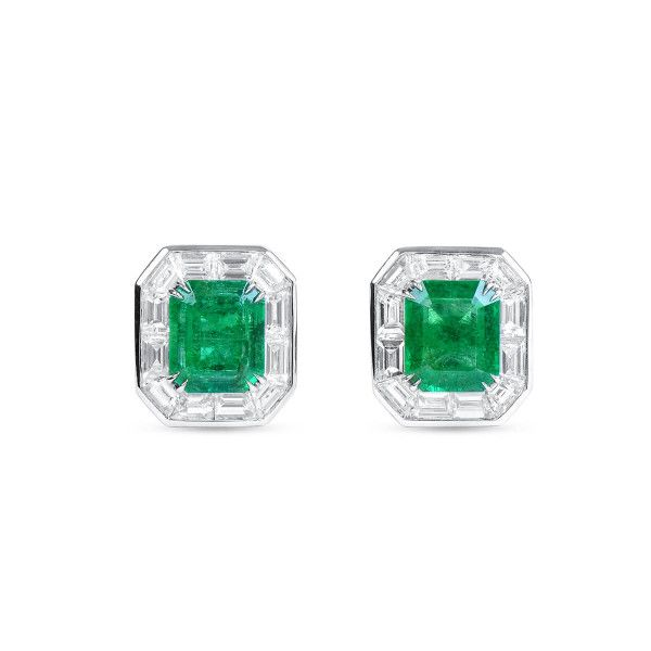 Natural Vivid Green Emerald Earrings, 1.10 Ct. (1.86 Ct. TW)